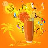 Fresh juice orange.Summer exotic rest.Vector — Stock Vector