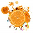 Fresh juice orange.Summer exotic rest.Vector — Stock Vector