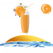 Fresh juice orange.Summer exotic rest — Stock Photo