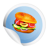 Hamburger with tomato, lettuce, onion and meat.Sticker — Stockfoto