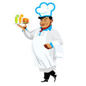 Funny Chef and fast food — Stock Photo
