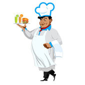 Funny Chef with hamburger and fresh fruit juice.Vector — Stock Vector
