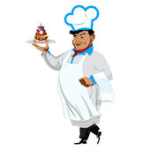 Funny Chef with sweet dessert on a white background.Vector — Stock Vector