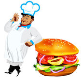 Funny Chef and fresh hamburger on a white background — Stock Photo