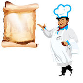 Funny happy Chef and menu on a white background — Stock Photo