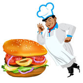 Funny Chef and fresh hamburger on a white background.Vector — Stock Vector