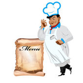 Funny happy Chef and menu on a white background.Vector — Stock Vector