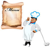 Funny happy Chef and menu on a white background — Stock Vector