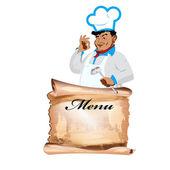 смешной счастливый шеф-повар и меню на белом фоне.вектор — Cтоковый вектор