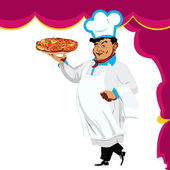 Funny Chef and italian pizza — Stockfoto