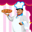 Funny Chef and italian pizza on a abstract pink  background.Vector — Stock Vector