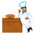 Funny Chef and traditional delicious Italian vegetable pizza — Stock Photo