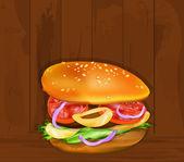 Hamburger on a wooden dark texture.Fast food.Vector — Stock Vector