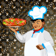 Funny Chef and italian pizza Best food for gourmet — Stock Photo