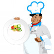 Chef with menu for vegetarian — Stock Photo #19793343