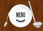 Menu cafe. Plate and spoon on a dark wooden texture background — Stock Photo