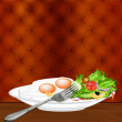 Scrambled eggs and fresh vegetable salad. Gourmet food — Stock Photo #20021957