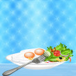 Scrambled eggs and fresh vegetable salad. Gourmet food — Stock Photo #20021963