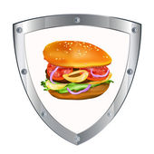 Traditional hamburger.Emblem fast food — Stock Photo