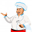 Happy joyful Chef on a white.Restaurant business — Stockfoto