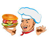 Chef and big hamburger.Face Chef.Restaurant business. Vector — Stock Vector