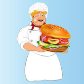 Funny Chef and best big traditional hamburger.Vector — Stock Vector