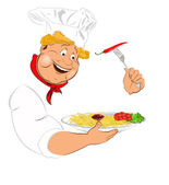 Funny Chef and best big traditional Italian spaghetti — Stock Photo