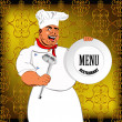 Eastern Chef and big plate on a abstract decorative background — Photo