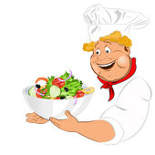 Funny Chef and big plate with fresh vegetable salad.Vector — Stock Vector