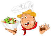 Funny Chef and big plate with fresh vegetable salad — Stock Photo