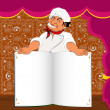 Funny Chef and book menu for Gourmet in interior restaurant — Stock Photo