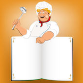 Funny Chef and book menu for Gourmet.Vector — Stock Vector