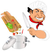 Funny Chef and best food for Gourmet.Vector — Stock Vector