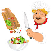 Funny Chef and fresh vegetable salad for vegetarian Gourmet — Stock Vector