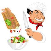 Engraçado chef e salada de legumes fresca para o gourmet vegetariano — Vetorial Stock