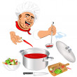 Funny Chef and fresh vegetable food for Gourmet — Stockfoto