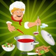 Funny Chef and fresh vegetable food for Gourmet.Vector — Векторная иллюстрация
