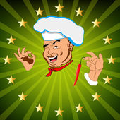 Funny Chef and fresh creative food for Gourmet. Vector — 图库矢量图片