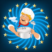 Funny Chef and big saucepan with spoon.Emblem healthy food — Stock Photo