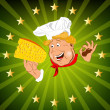 Funny Chef and Natural swiss dairy cheese.Emblem — Stock Photo