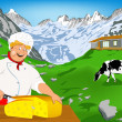 Chef and Natural swiss dairy cheese from cow with alps meadow — Stock Photo #21634949