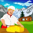Funny Chef and Natural swiss dairy cheese with alps mountains meadow — Stock Photo