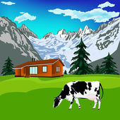 Dairy cow on a alps mountains green meadow.Alps landscape.Vector — Stock Vector