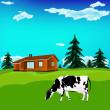 Dairy cow on a alps  green meadow. Alps landscape — Stock Photo