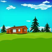 Alps rural landscape. Tourism.resort . Vector illustration — Stock Vector