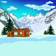 Winter rest in Alpine resorts.Nature landscape - Stock Photo
