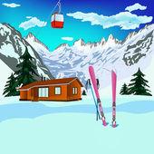 Deportes de invierno esquiar el resto en centros alpinos — Foto de Stock