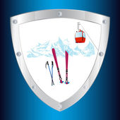 Safety on the mountain winter sports skiing tourist resorts.Emblem.Vector — Stock Vector