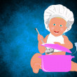 Chef Child on a abstract background.Healthy nutrition food for baby - Stock Photo