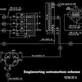 Engineering design automation scheme on a black background.Vector — Stock Vector